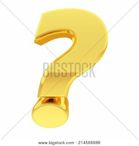 Gold question mark with gradient reflections isolated on white. High resolution 3D illustration