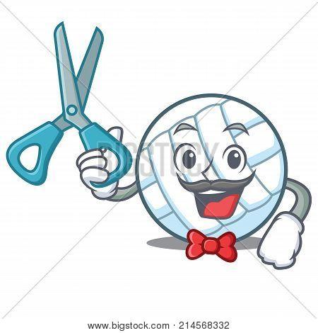 Barber volley ball character cartoon vector illustration