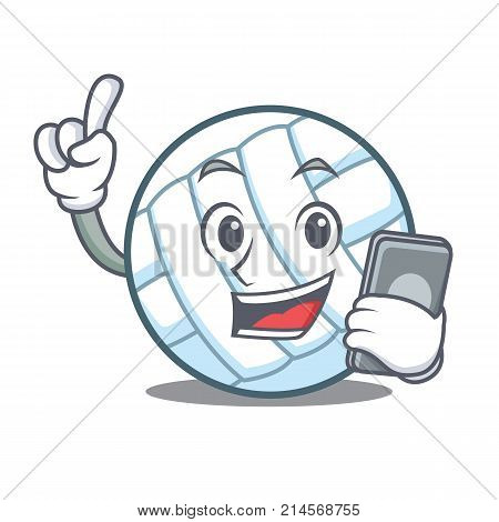 With phone volley ball character cartoon vector illustration