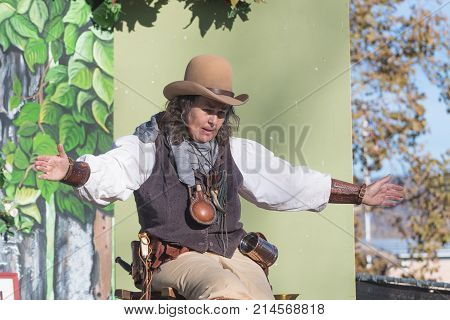 Storyteller With Typical Clothing During Tumbleweed Festival