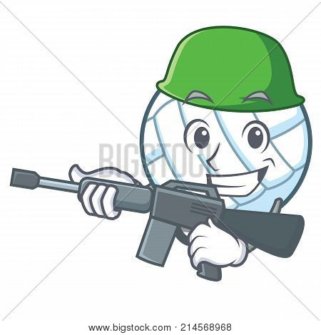 Army volley ball character cartoon vector illustration