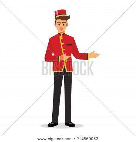 Bellboy hotel service. Vector Illustration graphic design