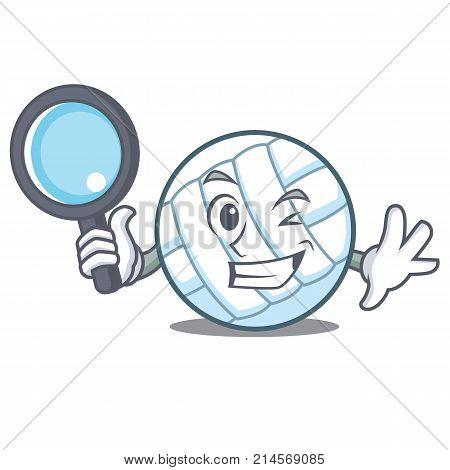 Detective volley ball character cartoon vector illustration