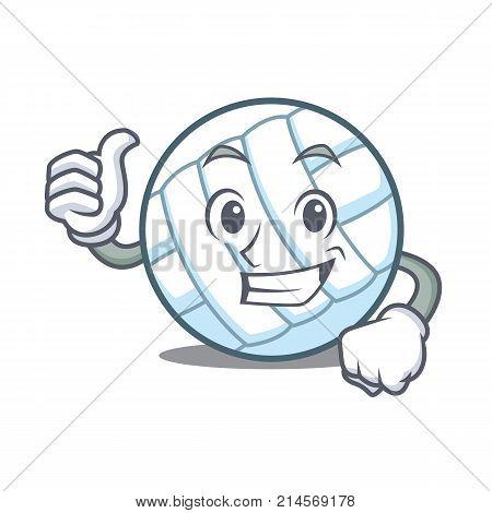 Thumbs up volley ball character cartoon vector illustration