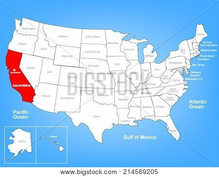 Vector Map of the United States Highlighting the State of California