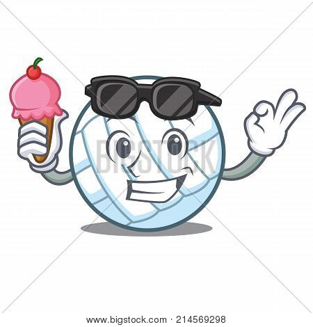 With ice cream volley ball character cartoon vector illustration