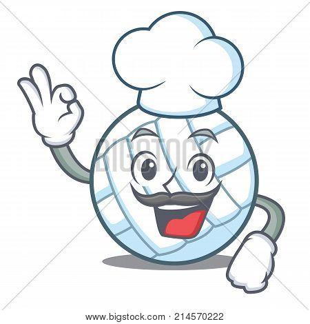 Chef volley ball character cartoon vector illustration
