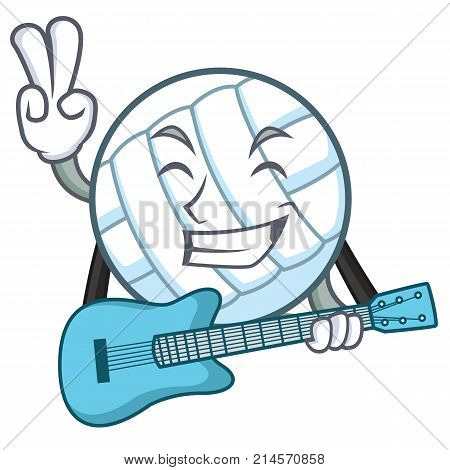 With guitar volley ball character cartoon vector illustration