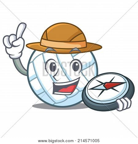 Explorer volley ball character cartoon vector illustration