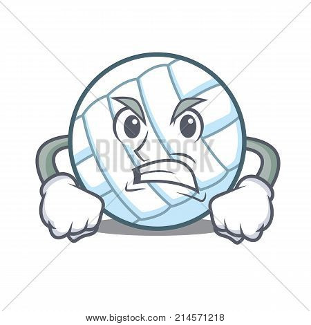 Angry volley ball character cartoon vector illustration