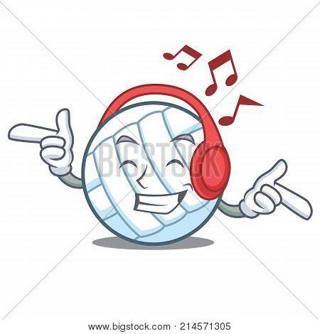 Listening music volley ball character cartoon vector illustration