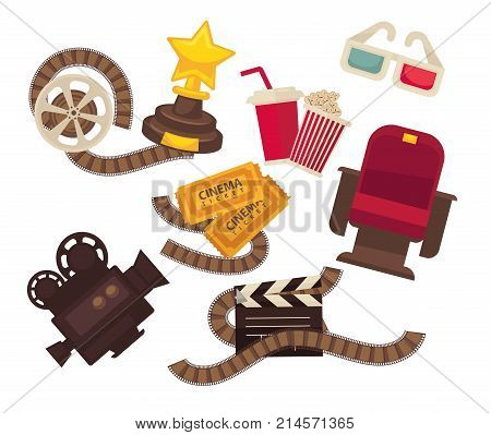 Retro cinema movie theater flat icons. Vector set of cinema ticket, 3D stereoscopic glasses or actor nomination golden star award, popcorn and soda, video film camera or cinematograph clapboard