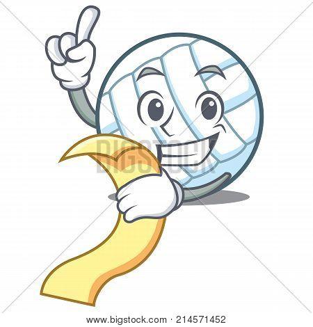With menu volley ball character cartoon vector illustration