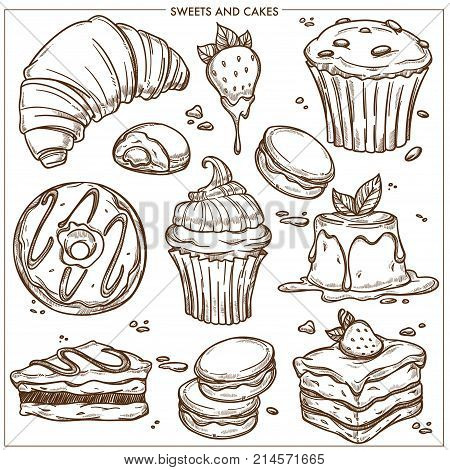 Sweet desserts, cakes and bakery cupcakes sketch icons. Vector isolated chocolate croissant, ice cream and fruit muffin bun, macaron or brownie tiramisu and cheesecake for patisserie cafeteria design