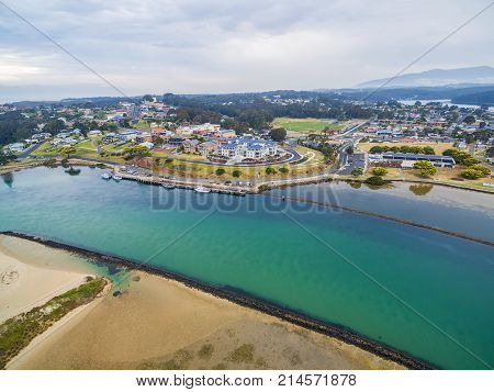 Aerial view of luxurious homes at Narooma NSW Australia