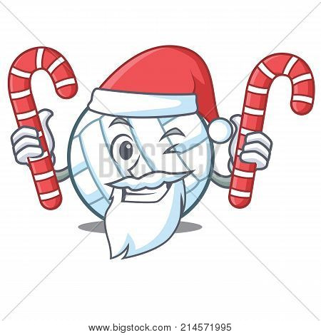 Santa with candy volley ball character cartoon vector illustration