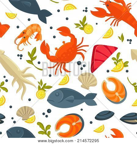 Seafood and fresh fish pattern background for for sea food restaurant. Vector flat seamless design of lobster crab and squid, salmon or tuna and dorada bream and oyster mussels or squid and spices