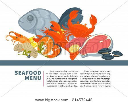 Seafood menu poster flat design of fresh fish catch and sea food for gourmet restaurant menu or fisher market. Vector seafood salmon and tuna or dorada bream fish, oyster mussels or shrimp and lobster