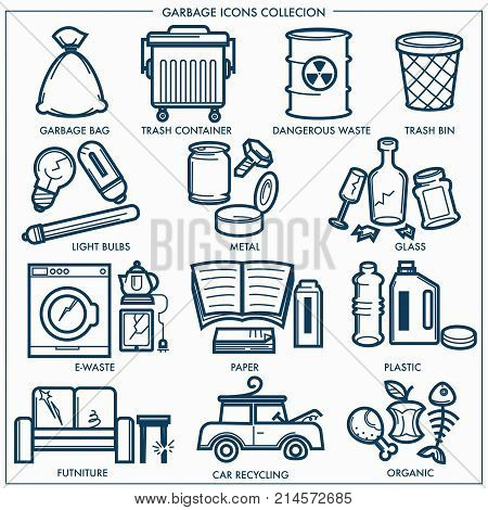Garbage or wastes trash line icons set. Vector isolated symbols set of domestic litter garbage bag and bin, dangerous toxic, electronic or plastic and metal recycling or organic wastes