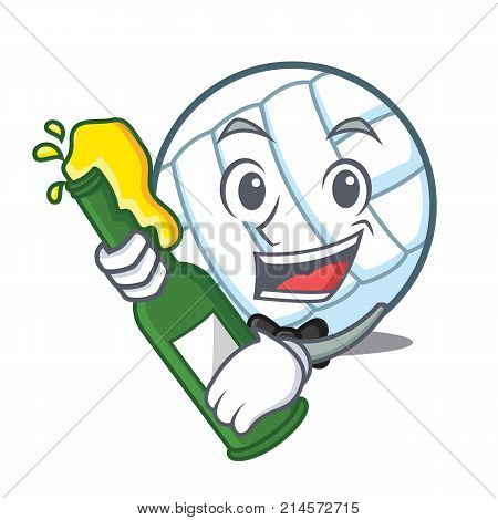 With beer volley ball character cartoon vector illustration