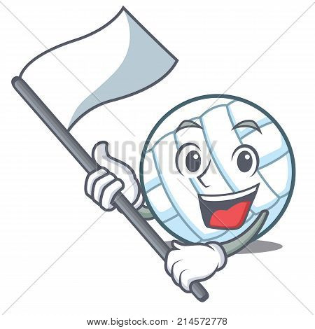 With flag volley ball character cartoon vector illustration