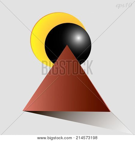 Eclipse abstraction drawing Image triangle two circles represent a solar eclipse style primitive geometry illustration vector