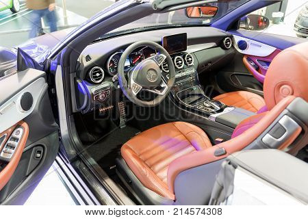 ATHENS, GREECE - NOVEMBER 14, 2017: Mercedes E-Class cabriolet interior at Aftokinisi-Fisikon 2017 Motor Show.