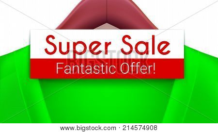 Super sale ad banner. Green jacket with tag hanging on hangers. Creativity fantastic offer for your design of posters, print design, creative arts. Horizontal 3D illustration