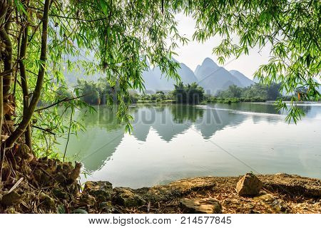 Amazing View Of The Yulong River At Yangshuo, Guilin, China