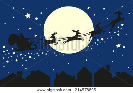 Santa Claus flying in sleigh with deer. Black silhouette on blue sky with moon and sity silhouette. Vector illustration