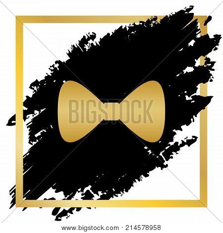 Bow Tie icon. Vector. Golden icon at black spot inside golden frame on white background.