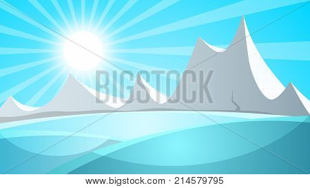 Cartoon snow landscape. Sun, snow, mountine illustration Vector eps 10