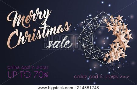 Christmas Background with Christmas Wreath of Cutout Shining Gold Stars. Vector illustration