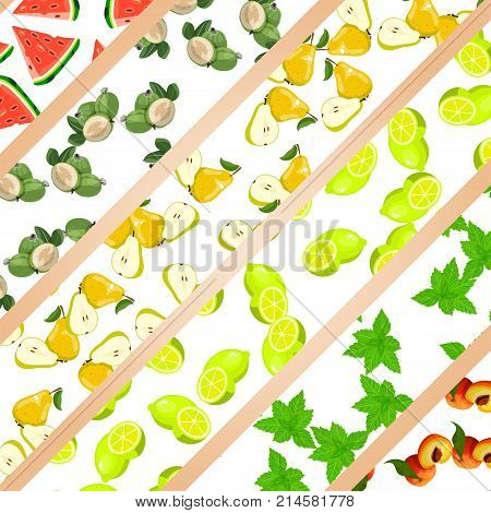 Sweet juicy whole and slice lemon or lime, mint, mojito, pear, watermelon, feijoa and peach fruit symbol for jam and juice product label or grocery store, shop and farm market design. jam, sauce or juice label