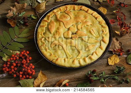 Meat pie with elk meat on the table