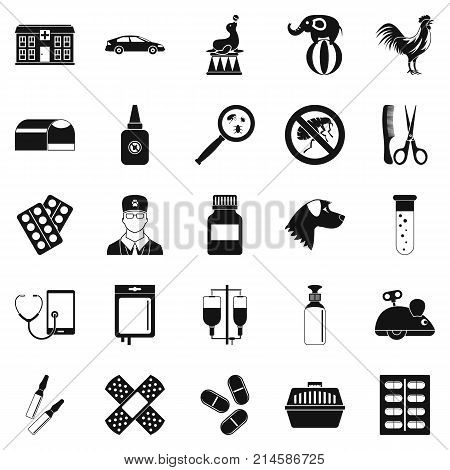 Veterinary icons set. Simple set of 25 veterinary vector icons for web isolated on white background