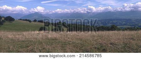 a panoramic view of a moutain landscape