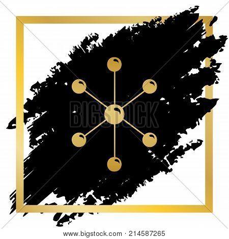 Molecule sign illustration. Vector. Golden icon at black spot inside golden frame on white background.