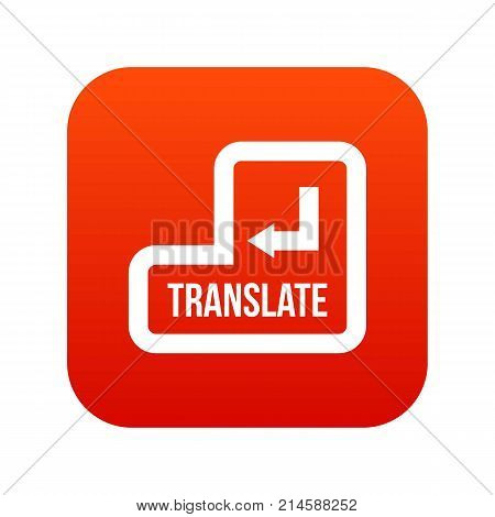 Translate button icon digital red for any design isolated on white vector illustration