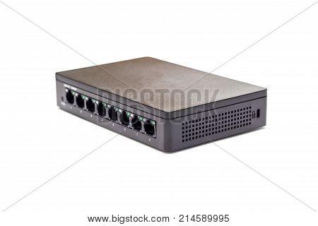switch 8 port gigabit isolated white background poster
