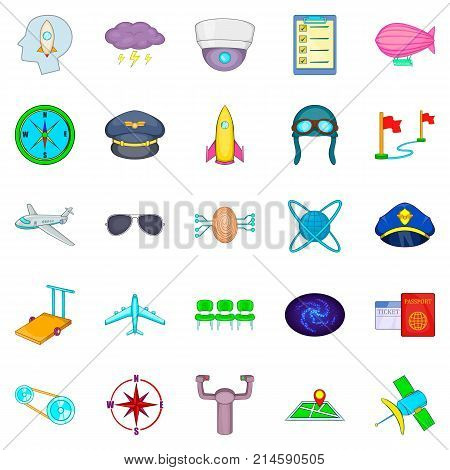 Air flight icons set. Cartoon set of 25 air flight vector icons for web isolated on white background
