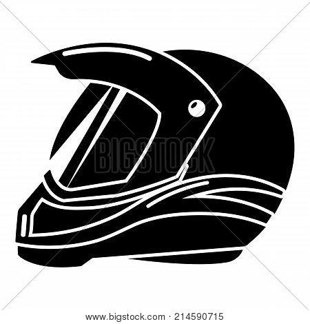 Motorcycle helmet racing icon. Simple illustration of motorcycle helmet racing vector icon for web