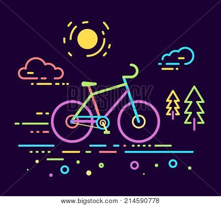 Vector Neon Color Illustration Of Bicycle On Dark Outdoor Background With Road, Fir Trees And Sun. B