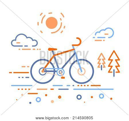 Vector Illustration Of Bicycle In The Forest. Bike Training Concept On White Outdoor Background.