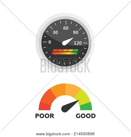 Guage icon. Credit score indicators and gauges vector set. Score vector icon