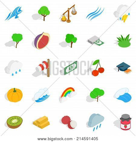 Vital icons set. Isometric set of 25 vital vector icons for web isolated on white background