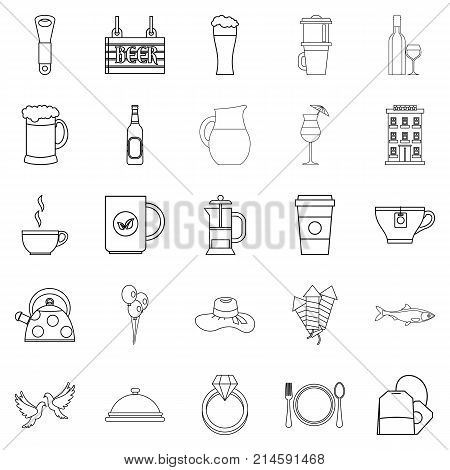 Spirit icons set. Outline set of 25 spirit vector icons for web isolated on white background