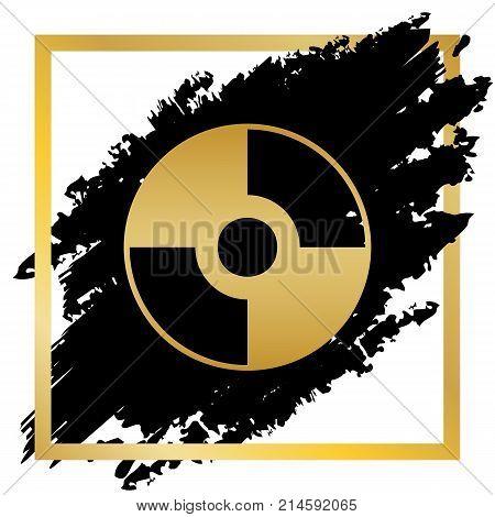 Vector CD or DVD sign. Vector. Golden icon at black spot inside golden frame on white background.