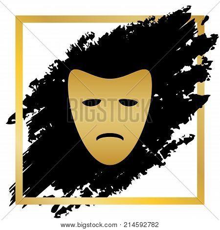 Tragedy theatrical masks. Vector. Golden icon at black spot inside golden frame on white background.