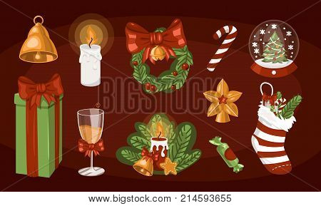 Cute gift boxes, presents for Christmas holidays, christmas socks, champagne celebration, candle, star, snow globe, wreath, bell, candy cane. Vector illustration elements